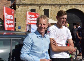Pressekonferenz Burg Vischering, Fabian Wegmann und Nils Politt vom Team Katusha Alpecin