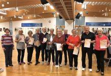 """Erstmals stellten sich ein Tänzer und neun Tänzerinnen aus der Gruppe """"Tanz mit – bleib fit"""" vom SC Westfalia Kinderhaus der Abnahme. Foto: Juliane Pladek-Stille"""